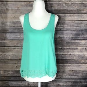 LUSH - Green Blouse with Flower Punch-outs